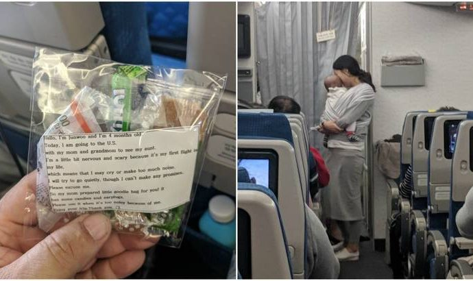 Before 10 Hour Flight, Mother Gives 220 Goodie Bags To Other Passengers On Behalf Of Her Newborn.